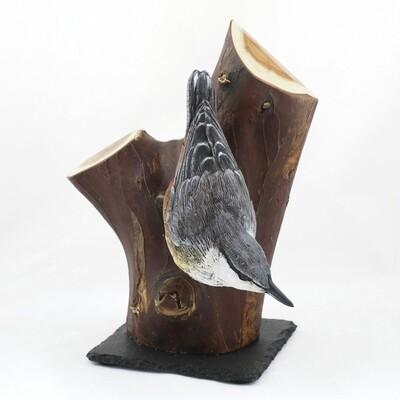 Ceramic Nuthatch Sculpture, by Karen Fawcett
