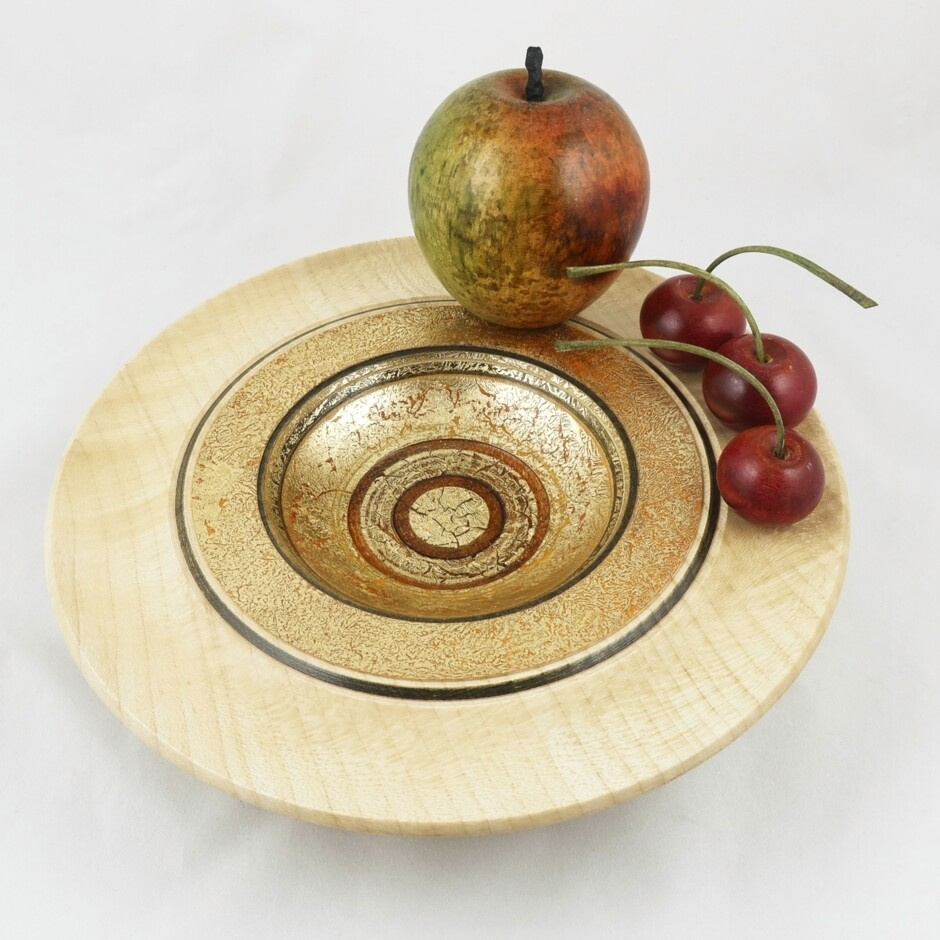 Wooden Bowl with Apple & Cherries, by Dennis Hales