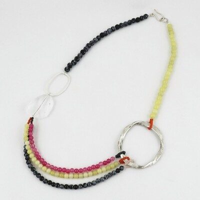 Bead & Silver Hoop Necklace by Melissa James