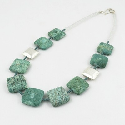 Silver Bead & Green Chrysocolla Necklace by Melissa James