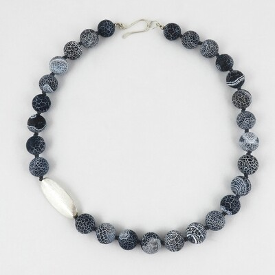 Silver Bead & Navy Agate Necklace by Melissa James