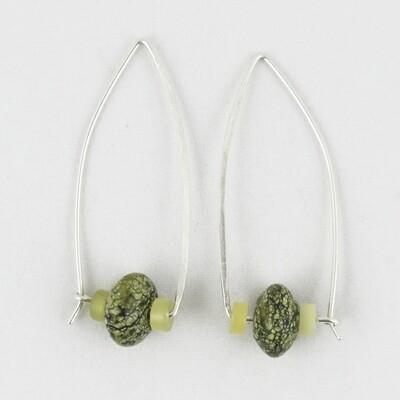 Drop Silver Wire Earrings with Jasper, by Melissa James