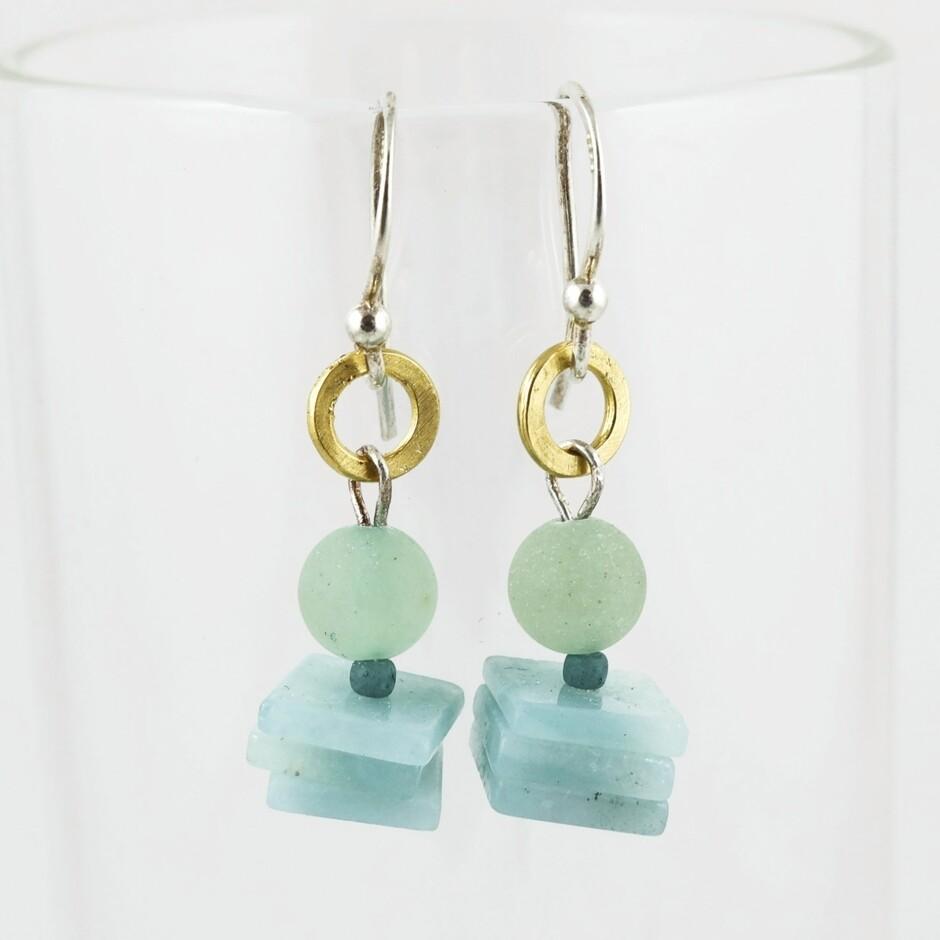 Agate & Sea Glass Earrings, by Melissa James