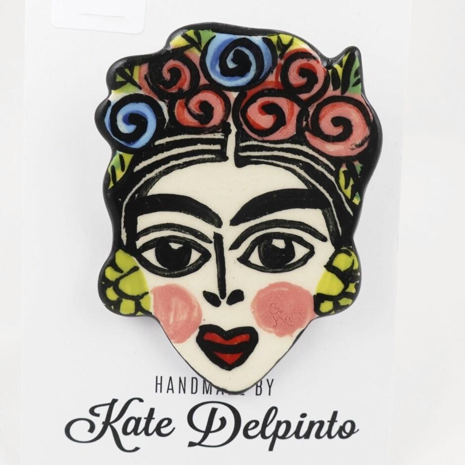 Frida Kahlo Ceramic Brooch by Kate Delpinto
