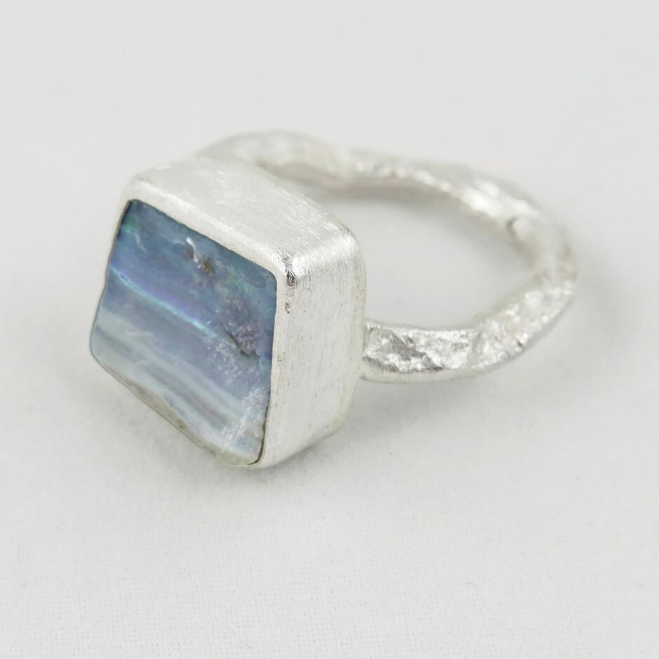 Boulder Opal & Eco Silver Ring, by Sarah Drew