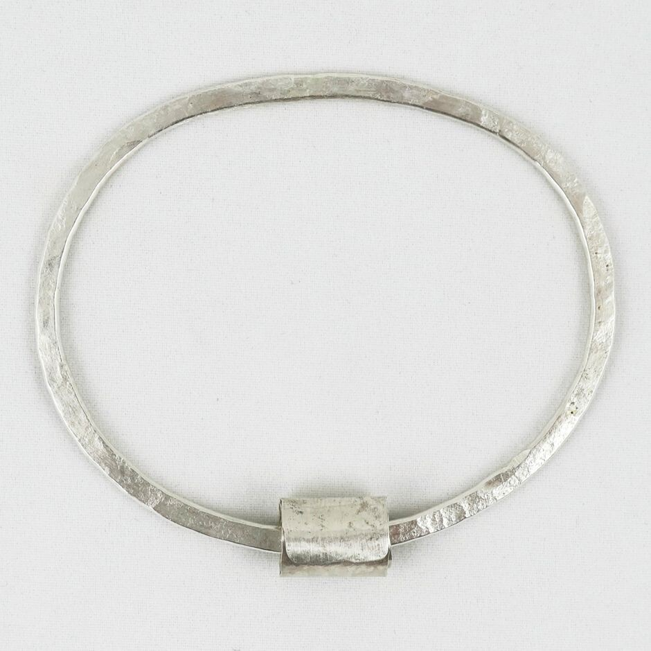 Hammered Silver Bangle with Ripcurl, by Sarah Drew