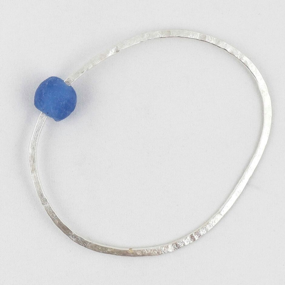 Hammered Silver Bangle with Bead, by Sarah Drew