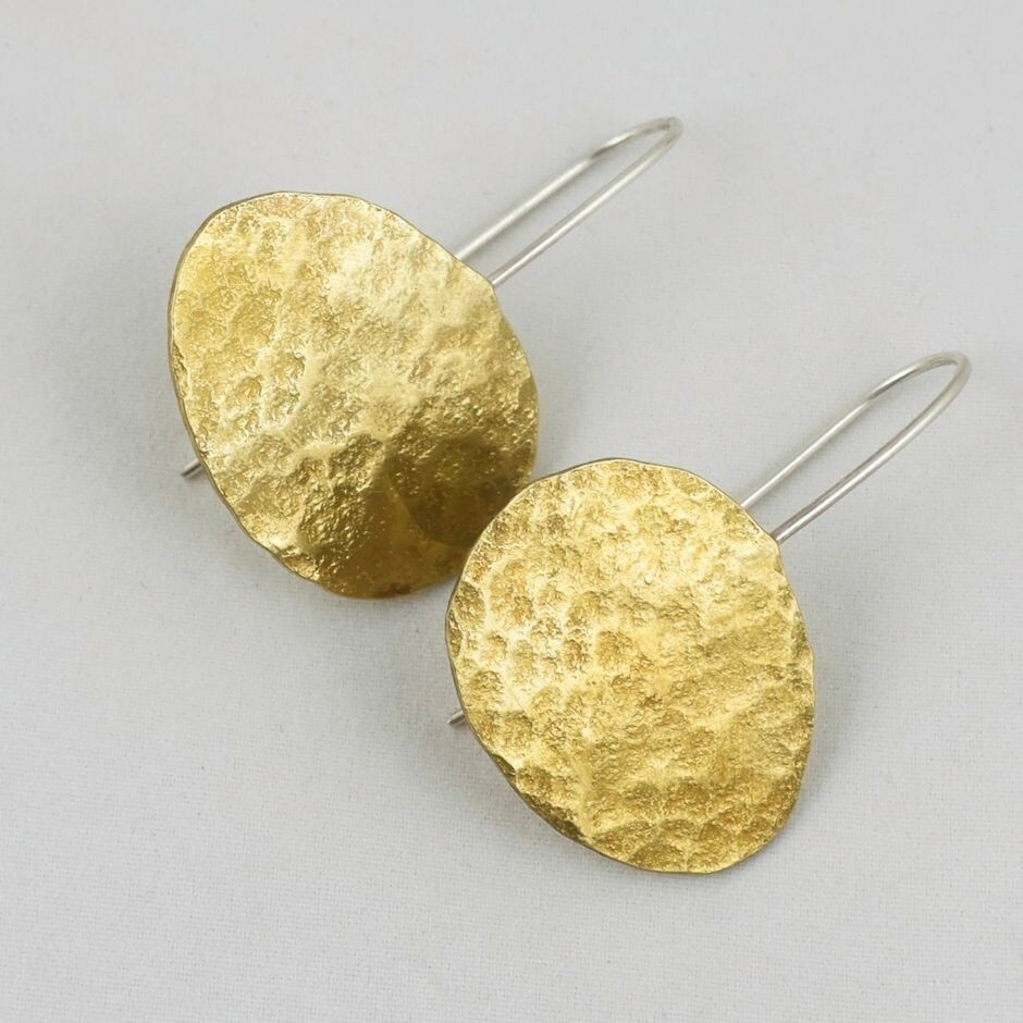 Planished Brass Disc Earrings, by Sarah Drew