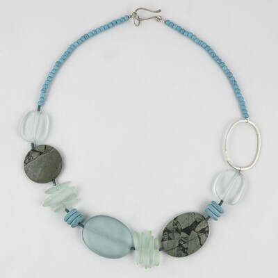 Sea Glass & Silver Necklace by Melissa James