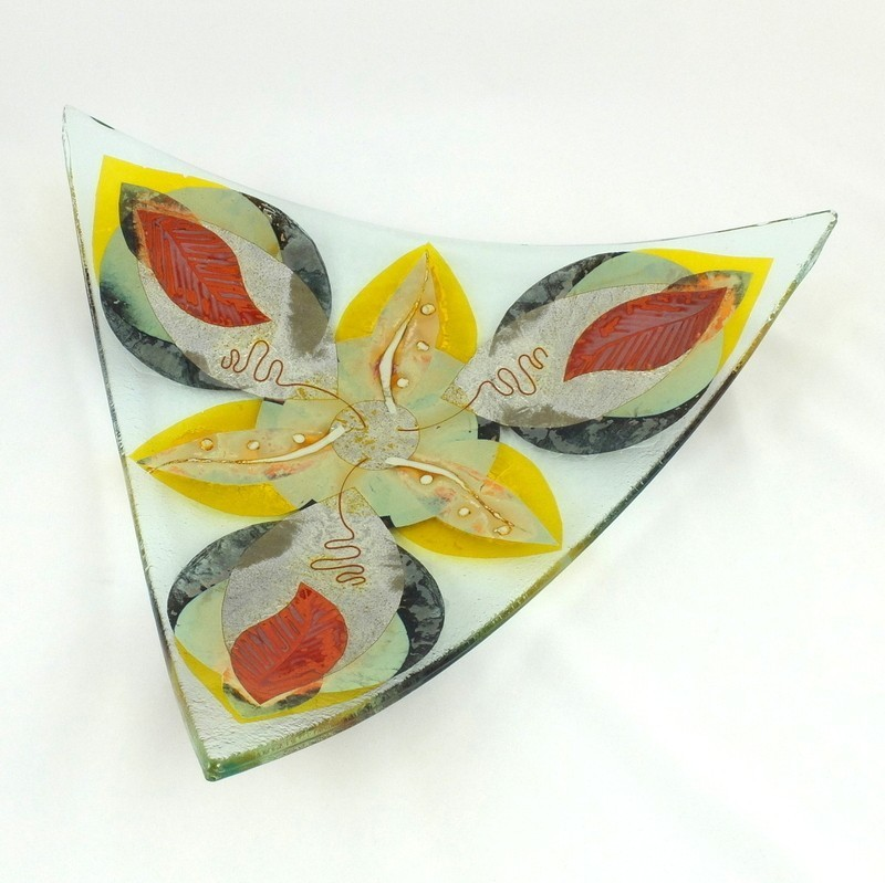 Large Fused Glass Triangular Dish, by McNeill Glass