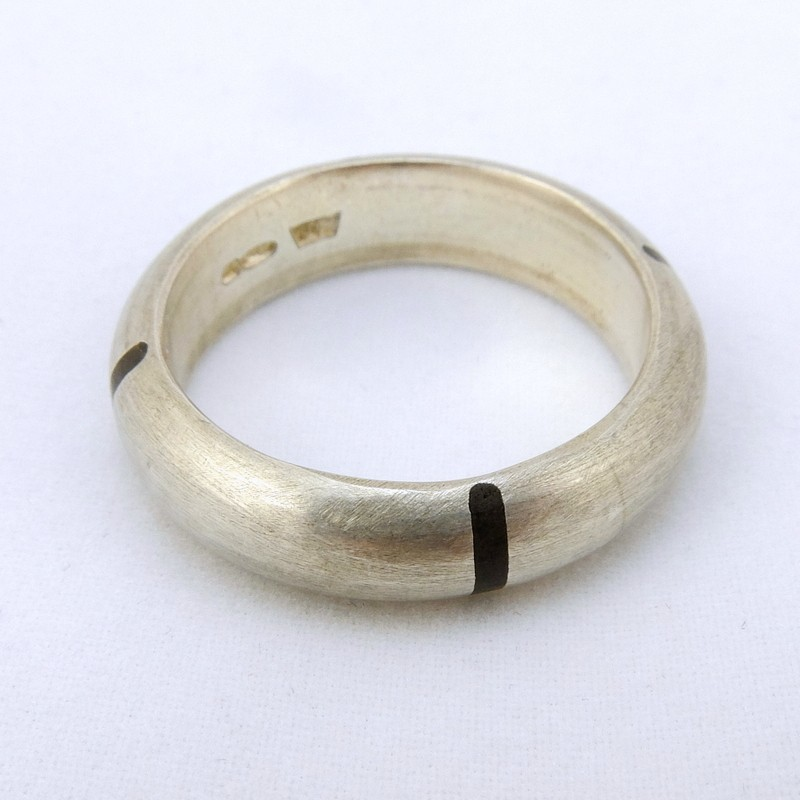 Rounded Silver Ring with Ebony Inlay, by Justin Duance