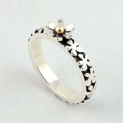 Silver and Gold Flower RIng, by Linda Macdonald