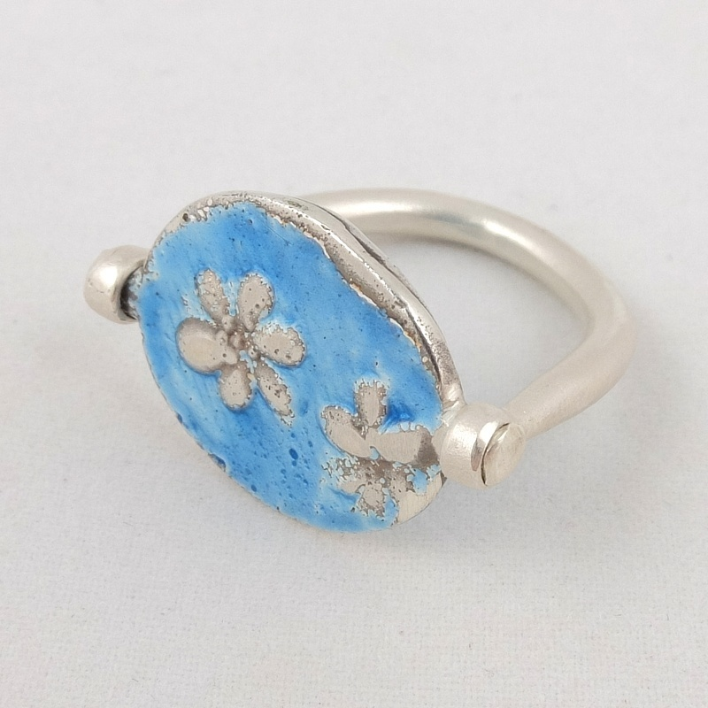 Double Sided Silver & Enamel Flip RIng by Cathy Newell Price