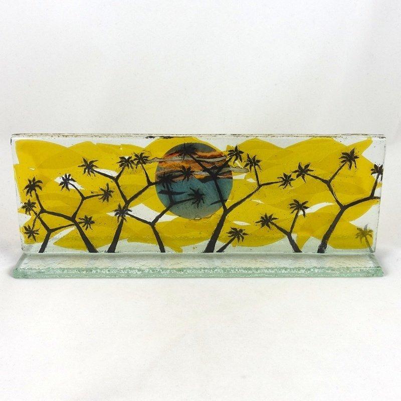 Wide Freestanding Glass Plaque, by McNeill Glass
