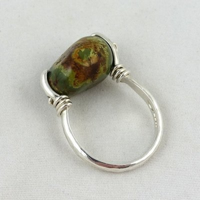Turquoise & Silver Coil Ring, by Camilla West
