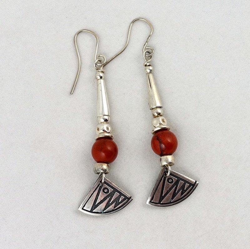 Jasper and Patterned Silver Earrings, by Anne Farag