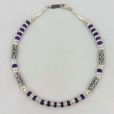 Deep Purple Amethyst and Etched Silver Necklace, by Anne Farag