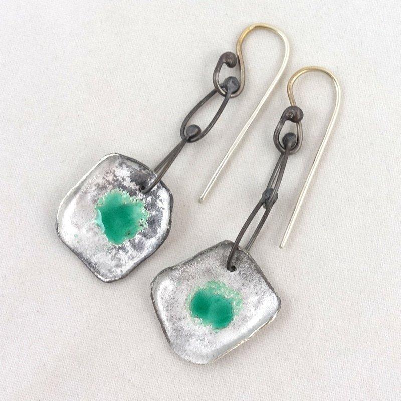 Fiery Dancer Green Enamelled Silver Earrings by Cath Hill