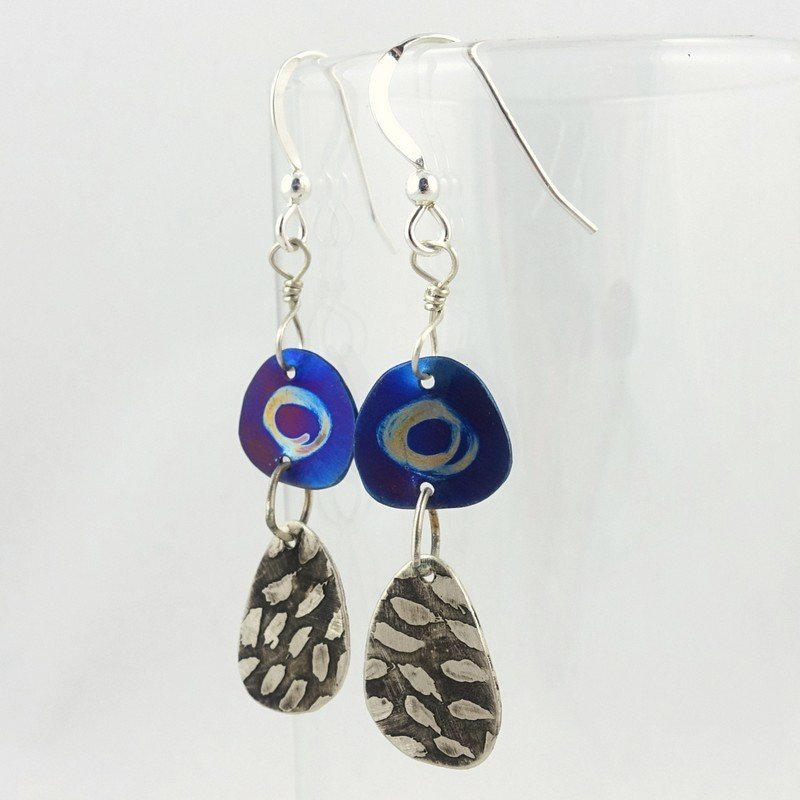 Silver and Blue Titanium Earrings, by Jill Stewart