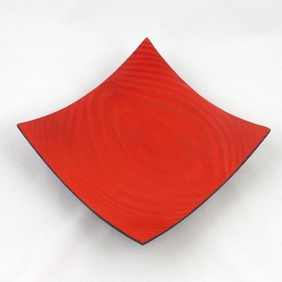 Hand Turned Red Square Bowl, by Kevin Hutson