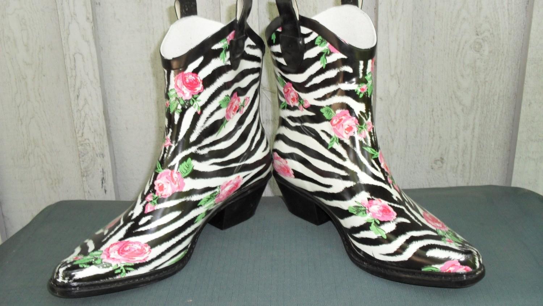 Walking in the rain gets even more fun when you're wearing zebra rain boots!!