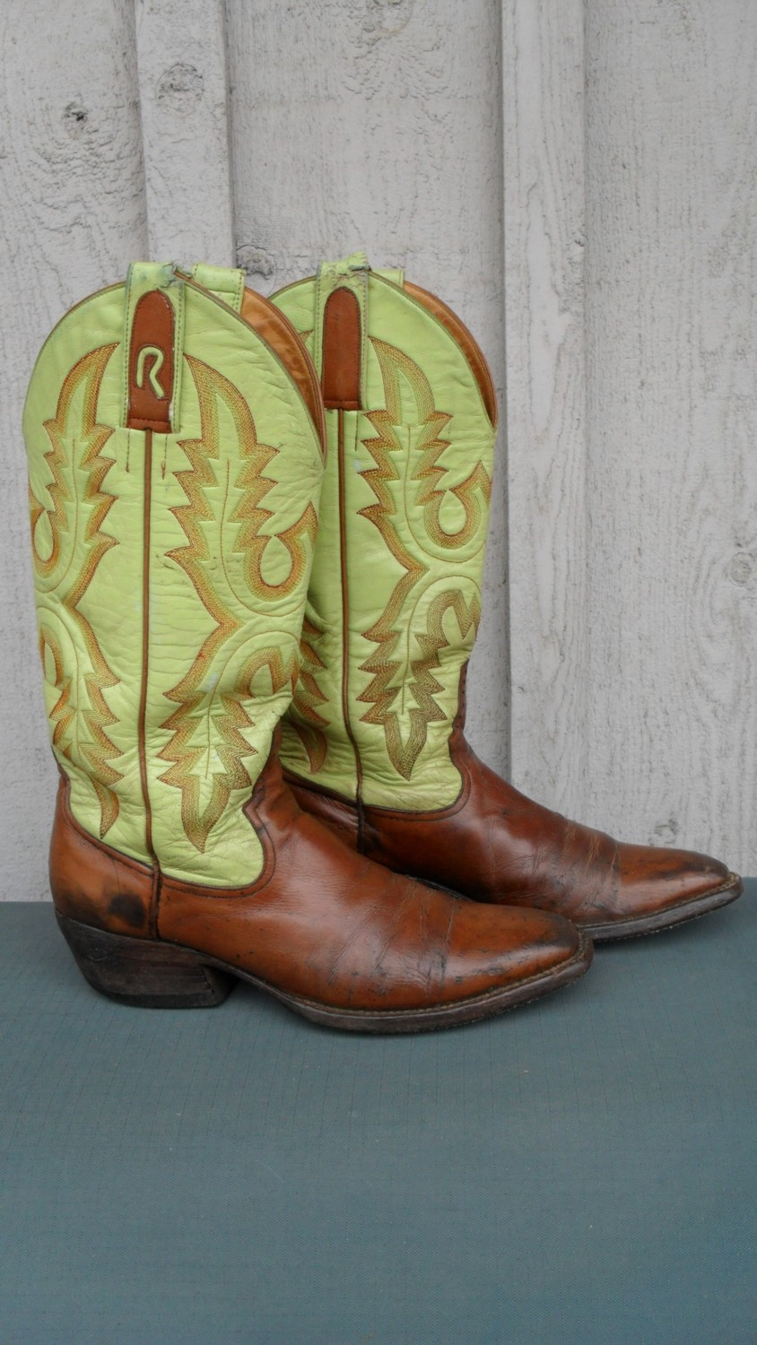 Custom pair of Rod Patrick boots with luscious lime shafts