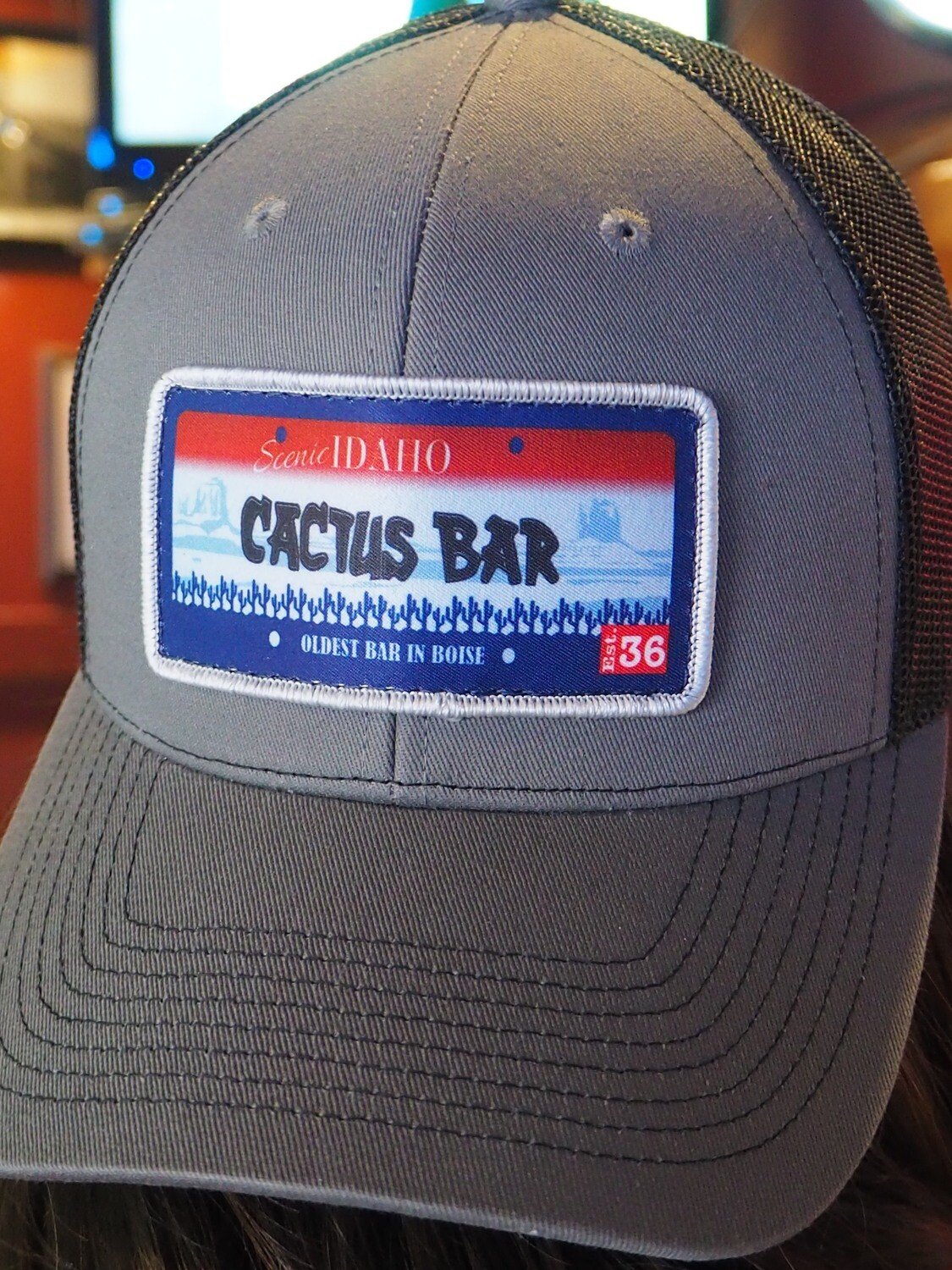 ID License Plate Cactus Bar Hat (Black & Grey)