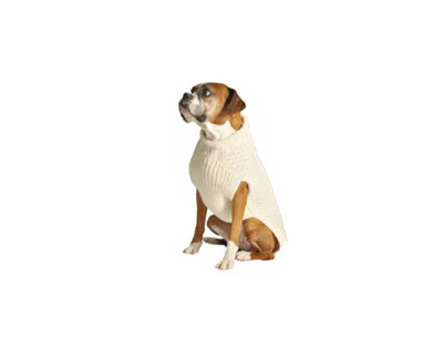 Chilly Dog Natural Cable Knit Dog Sweater | S