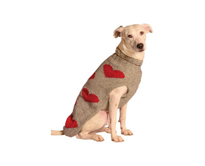 Chilly Dog Red Hearts Sweater | M