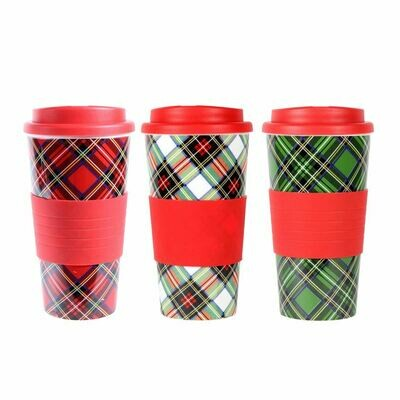 Dennis East Int. Plaid Travel Tumbler with Silicon Grip