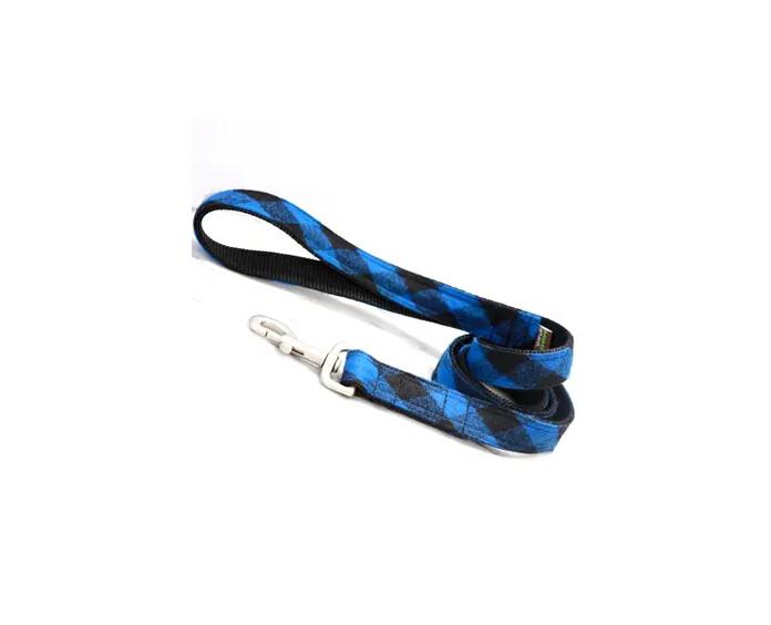 "Mimi Green Buffalo Plaid Dog Leash Blue/Black | 5 ft 1"""