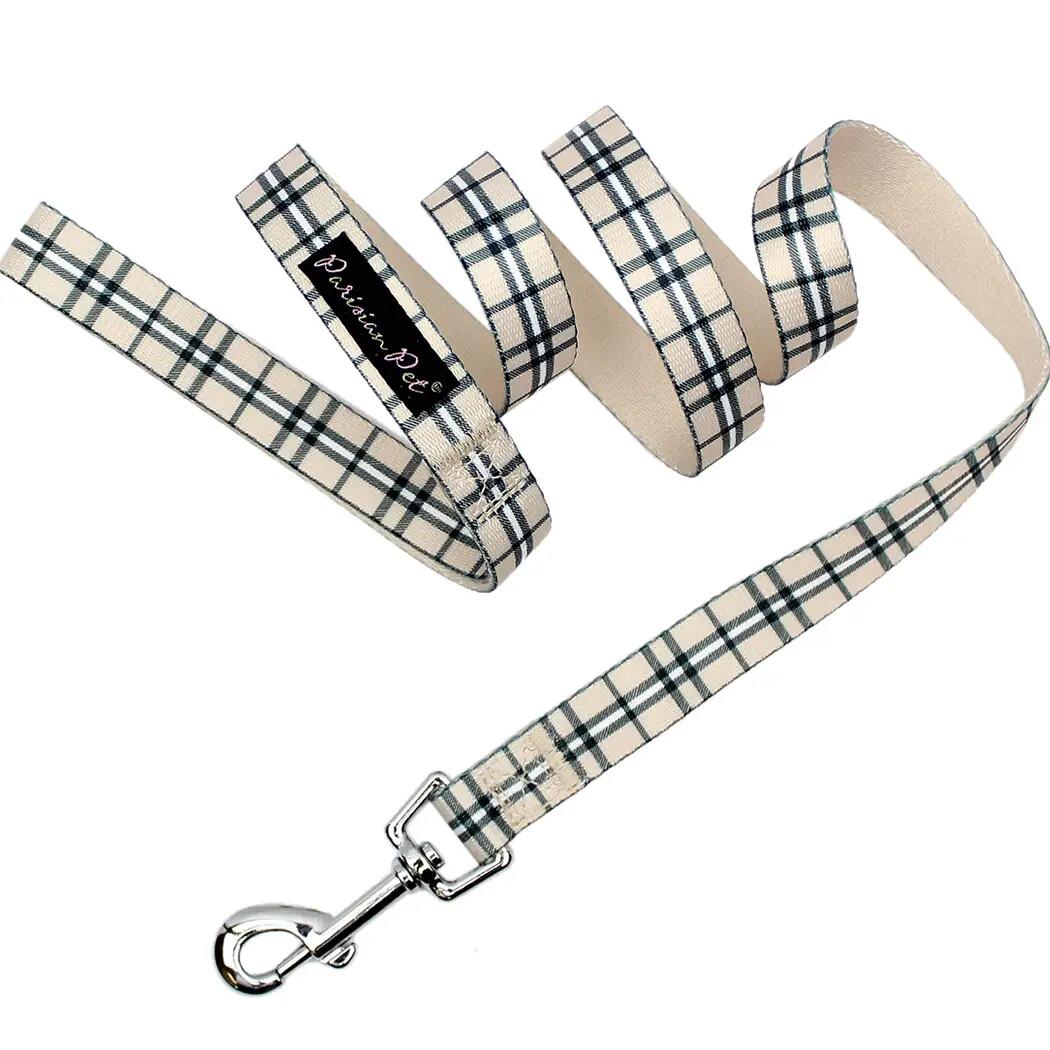 Parisian Pet Scottish Plaid Khaki Leash | 4'