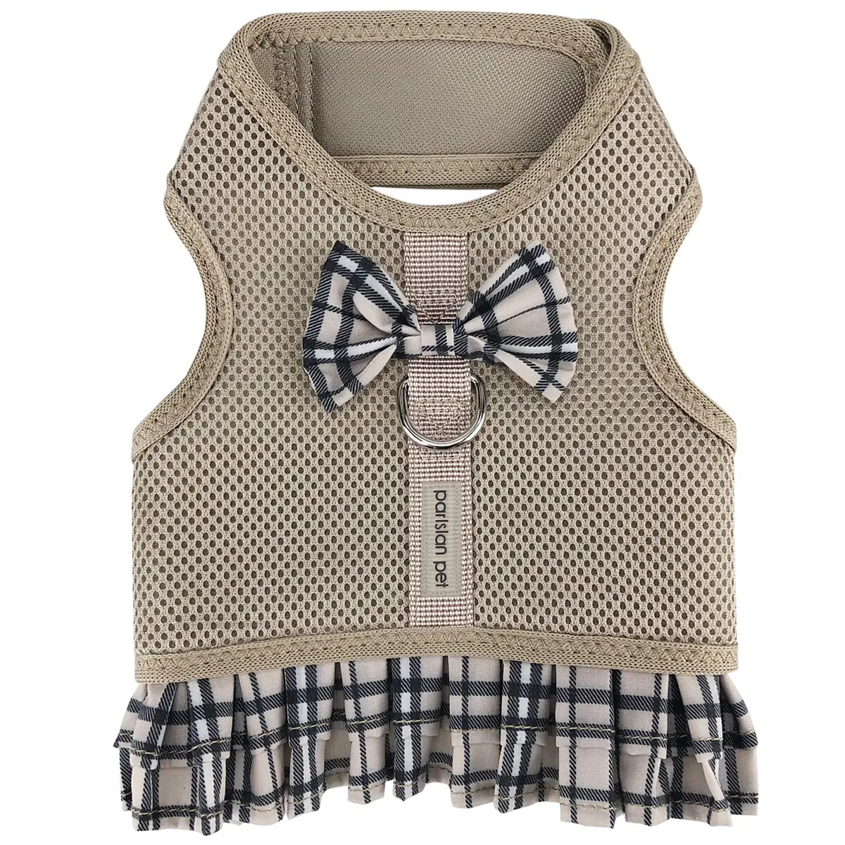 Parisian Pet Harness Dress Plaid Khaki | S