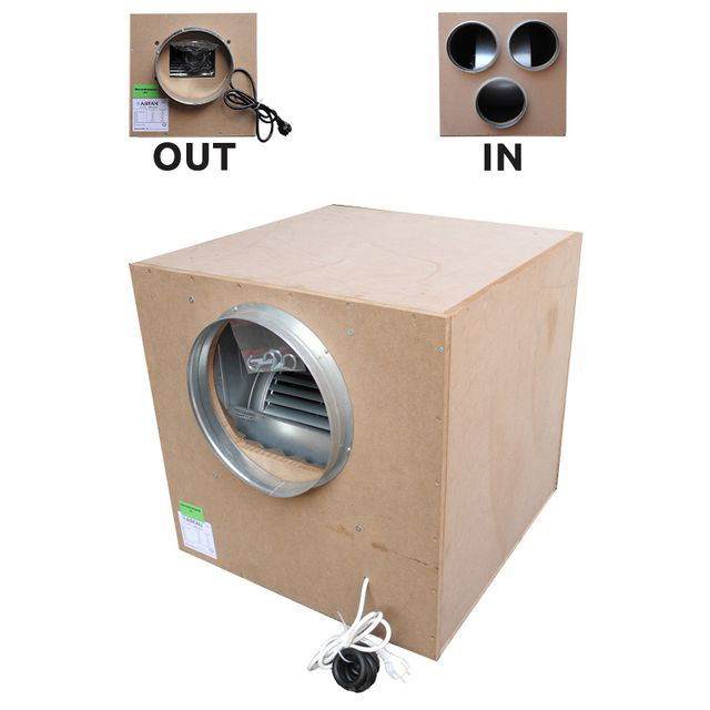 Звукоизолированный вытяжной вентилятор AirFan деревянный (производительность 6000 м3/час)