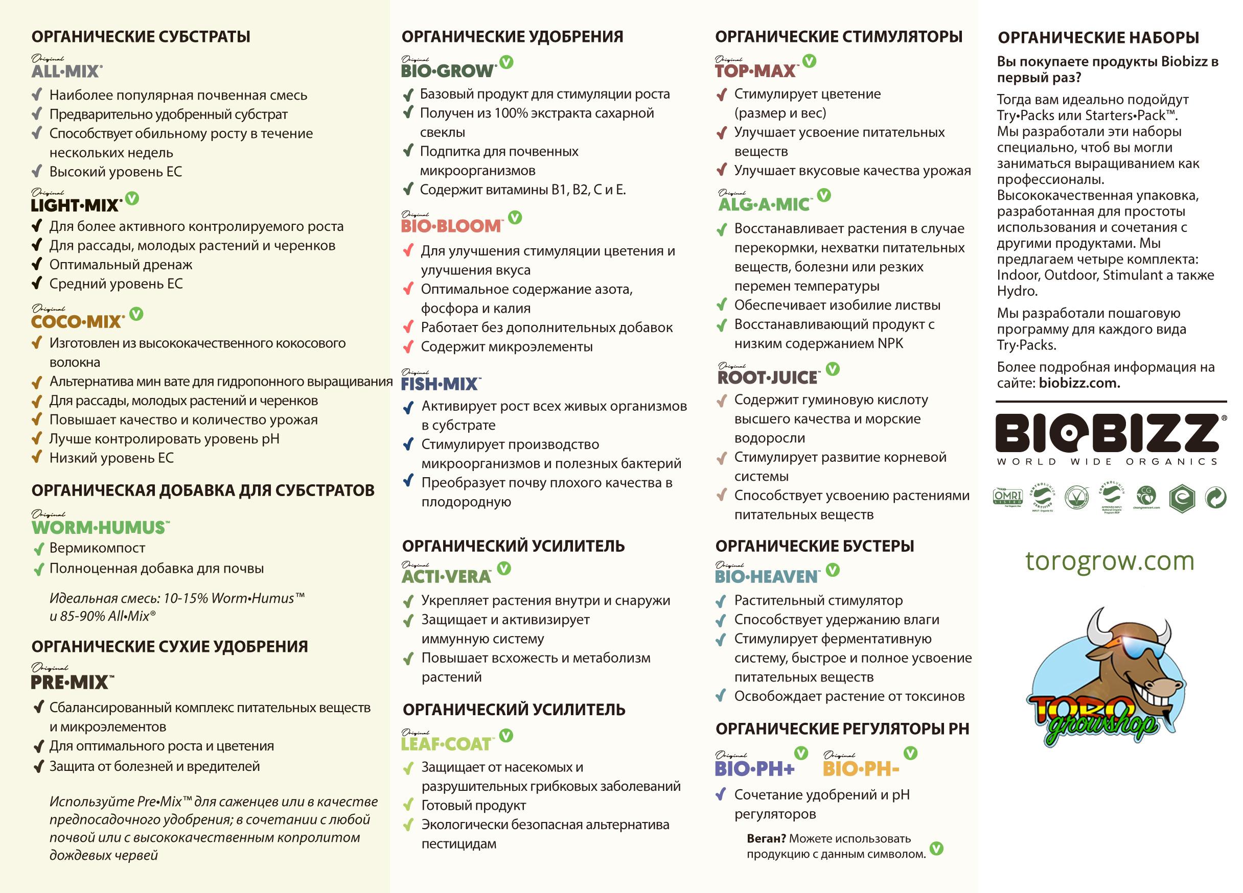 Органические удобрения Bio Bizz (стартовый комплект)