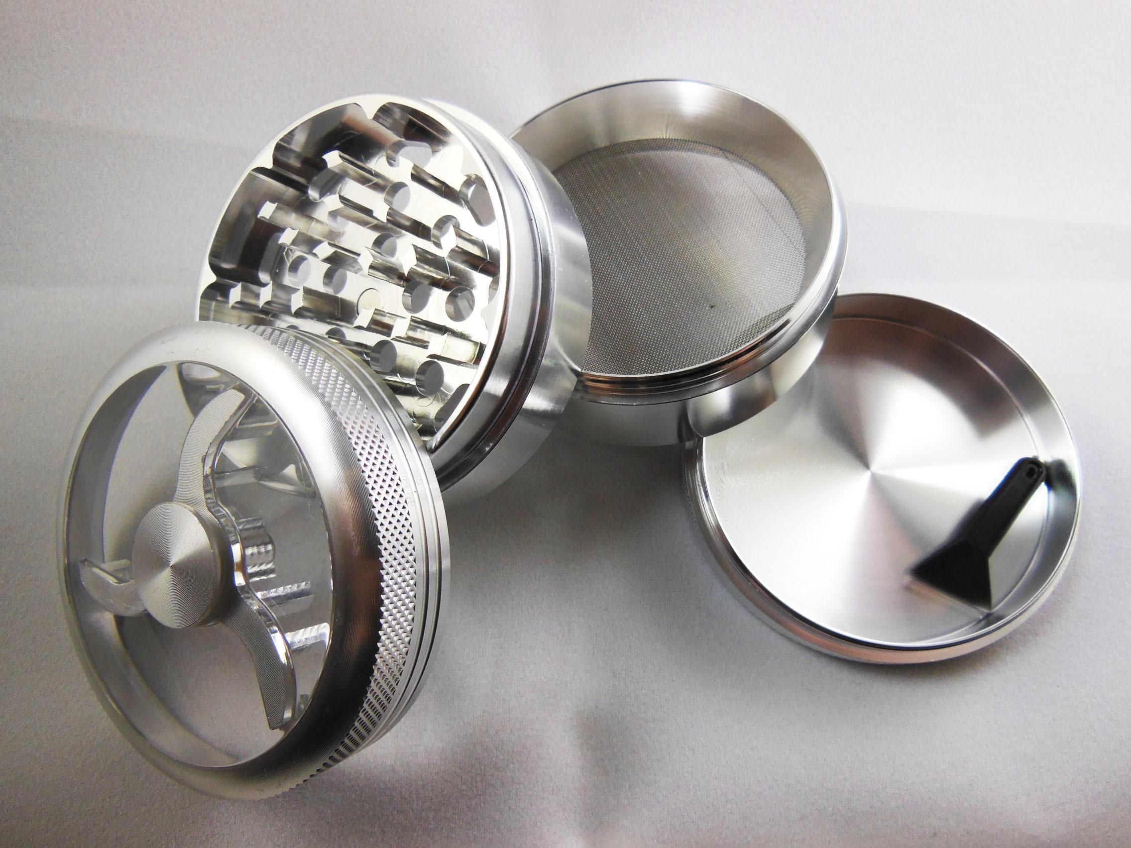 Гриндер металлический для марихуаны с магнитным замком и прозрачным верхом (62,5 мм.)