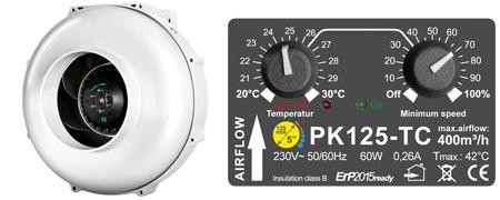 Prima Klima PK125-TC - вентилятор вытяжной с функцией контроля скорости и температуры (диаметр 125 мм./производительность 400 м3/час)