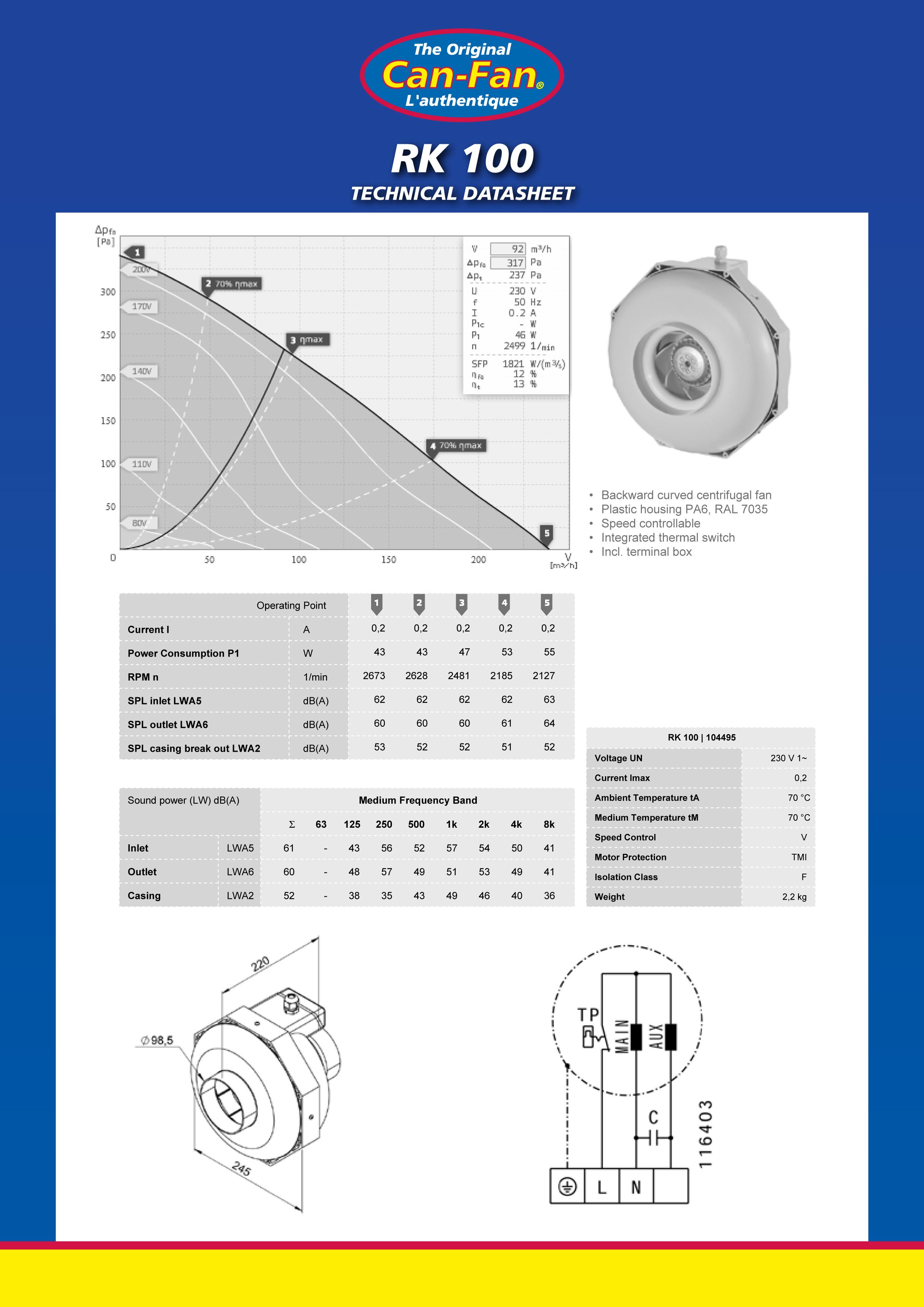 Вентилятор вытяжной Can-Fan RK 100 (диаметр 100 мм.)