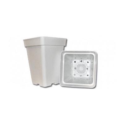 Горшок квадратный белый 23x23x27,5 см. (11 литров) 00706