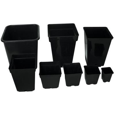 Горшок квадратный чёрный 12x12x12 см. (1,3 литра) 04522