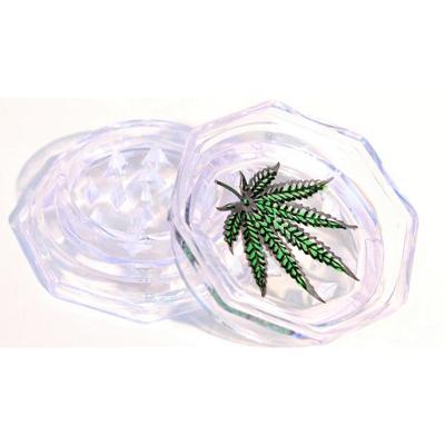 Пластиковый карманный гриндер с листом каннабиса 00358