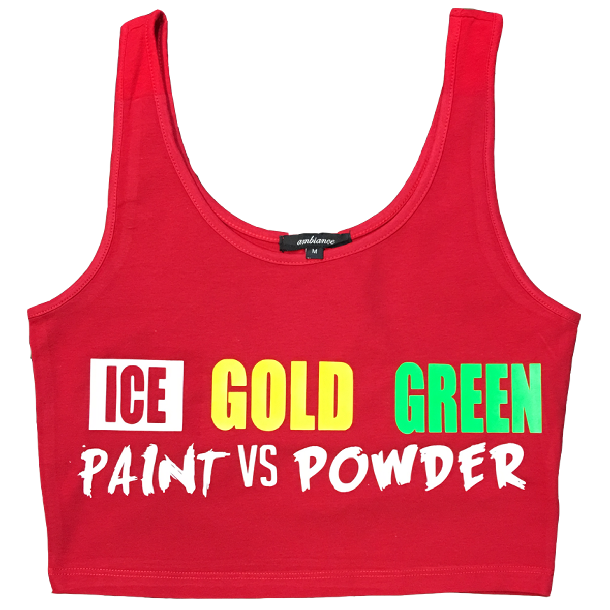 IGG CROP TOP COMES IN (RED - GREEN - YELLOW - PINK)
