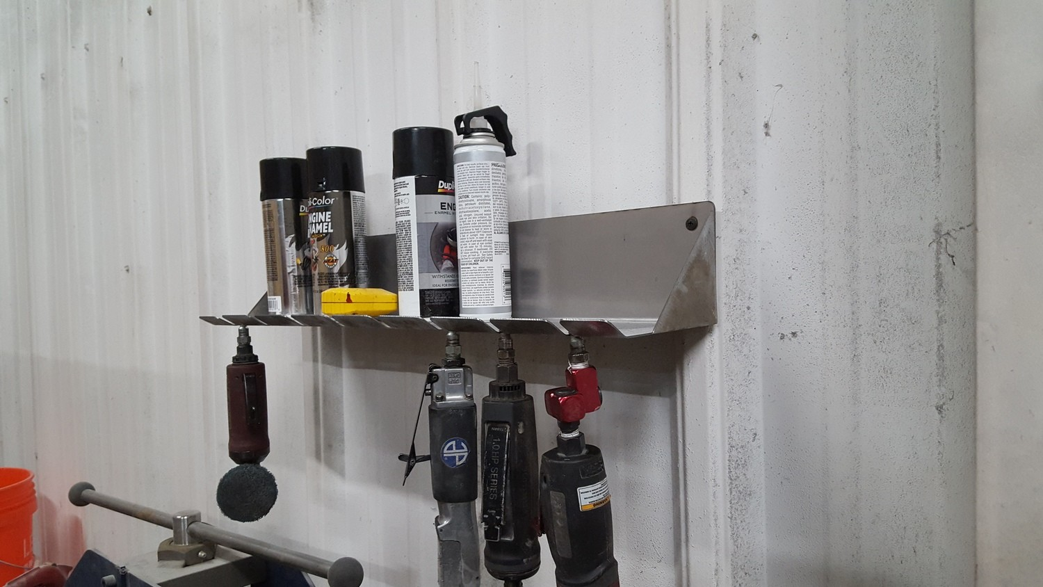 Stainless Steel Air Tool Holder (Holds 8 Tools w/integrated Shelf)