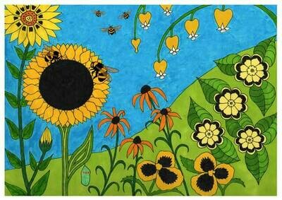Two Bees Visit a Sunflower