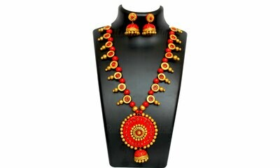 Terracotta Jewellery Necklace Set - NH270