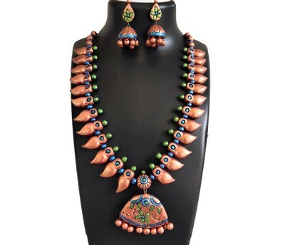 Terracotta Jewellery Necklace Set - NH370
