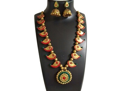 Terracotta Jewellery Necklace Set - NH390