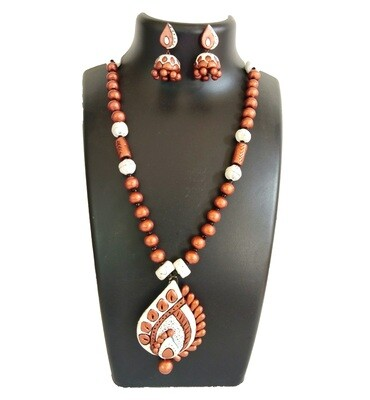 Terracotta Jewellery Necklace Set - NH330