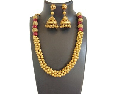 Terracotta Jewellery Necklace Set - NH320