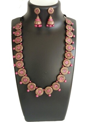 Terracotta Jewellery Necklace Set - NH360